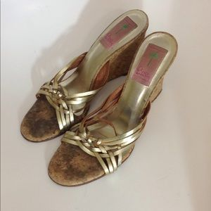 Lilly Pulitzer Gold Leather Wedges